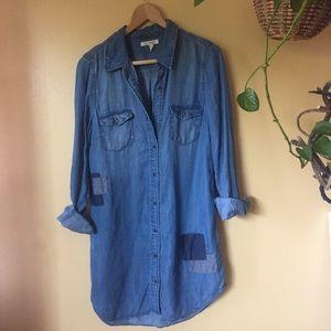 Life in Progress Denim Patchwork Shirt dress Sz M